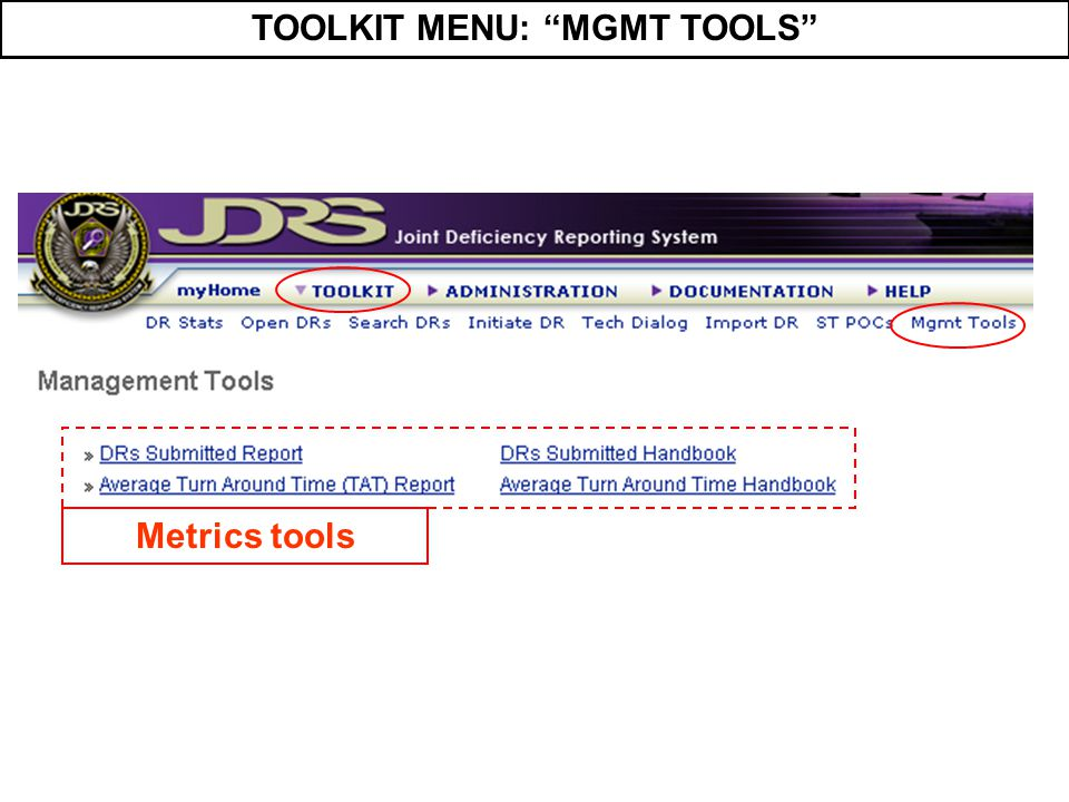 TOOLKIT MENU: MGMT TOOLS