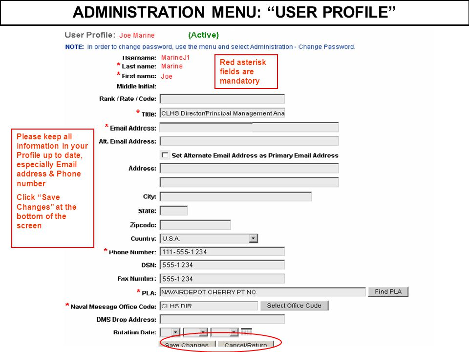 ADMINISTRATION MENU: USER PROFILE