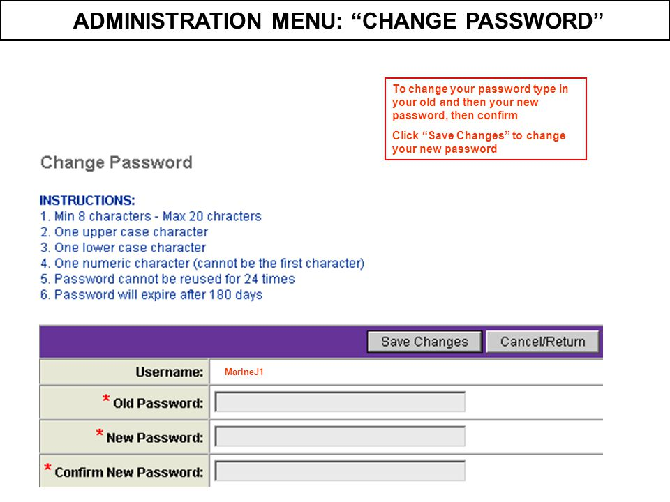 ADMINISTRATION MENU: CHANGE PASSWORD