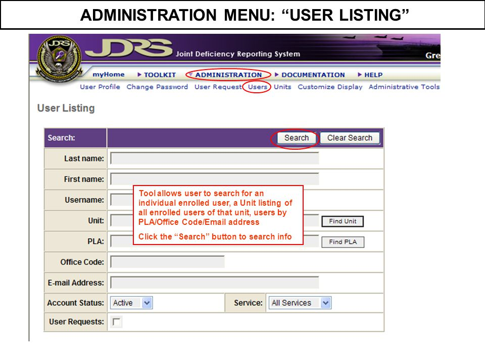 ADMINISTRATION MENU: USER LISTING