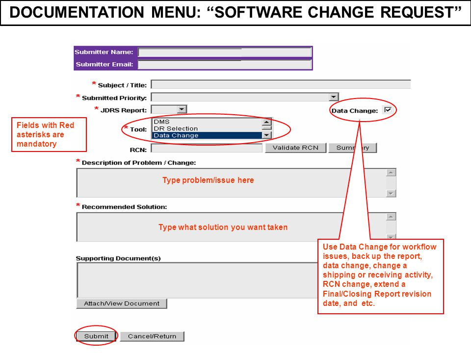 DOCUMENTATION MENU: SOFTWARE CHANGE REQUEST