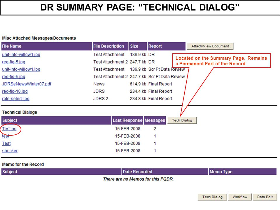DR SUMMARY PAGE: TECHNICAL DIALOG