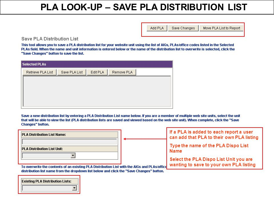 PLA LOOK-UP – SAVE PLA DISTRIBUTION LIST