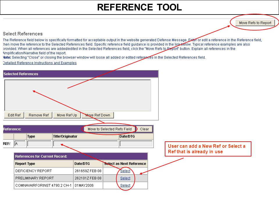 REFERENCE TOOL User can add a New Ref or Select a Ref that is already in use