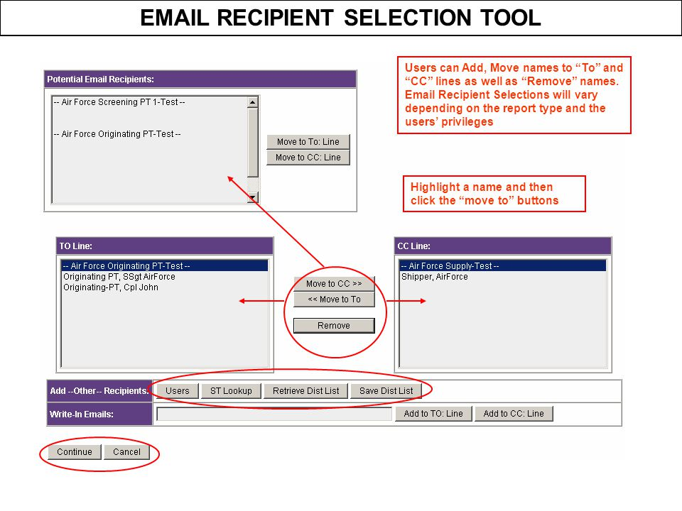 EMAIL RECIPIENT SELECTION TOOL