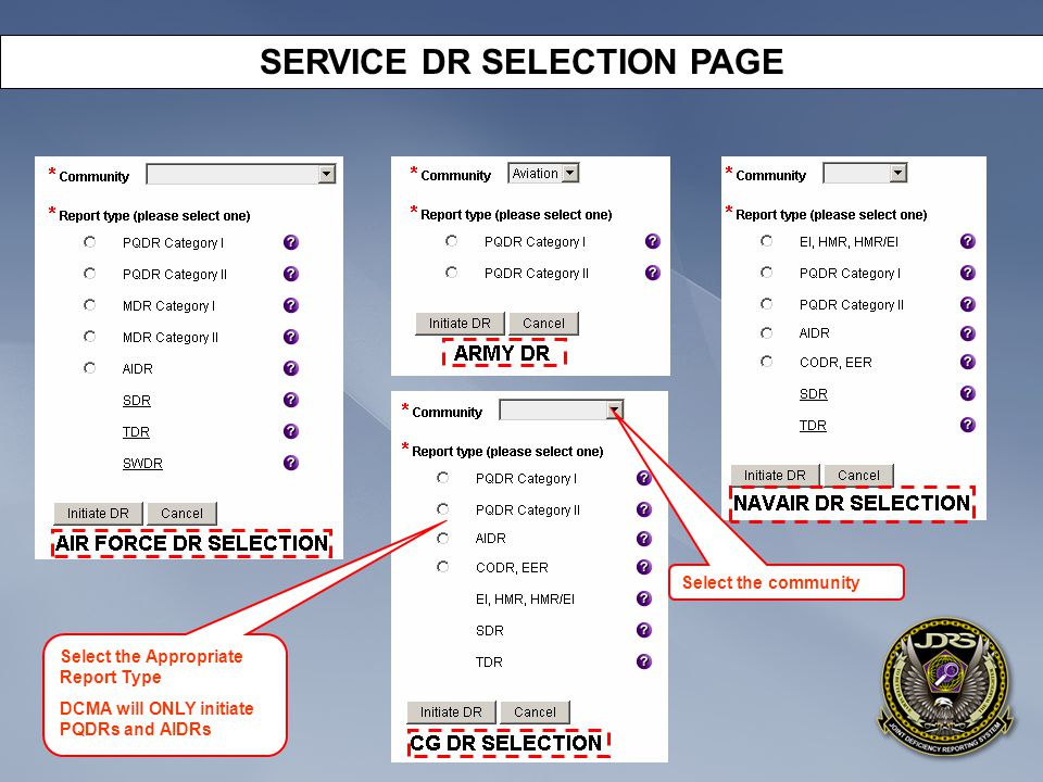 SERVICE DR SELECTION PAGE