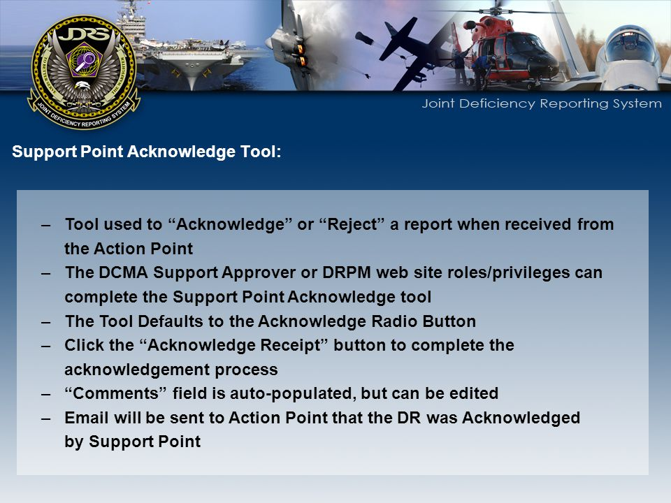 Support Point Acknowledge Tool:
