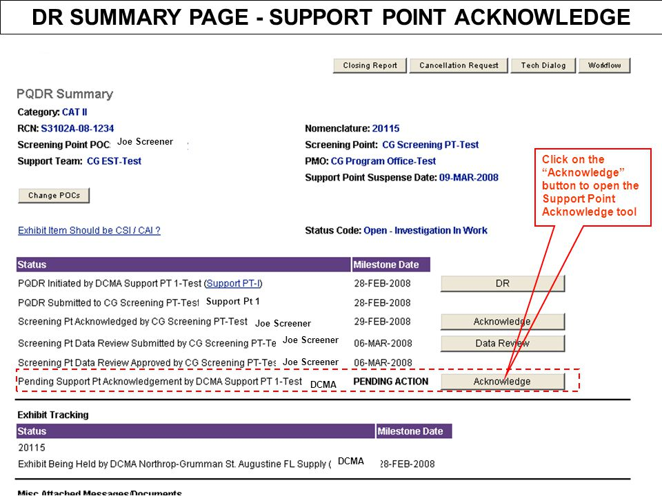DR SUMMARY PAGE - SUPPORT POINT ACKNOWLEDGE