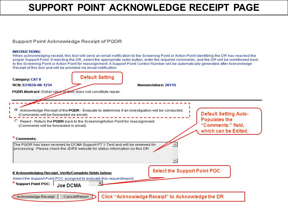SUPPORT POINT ACKNOWLEDGE RECEIPT PAGE