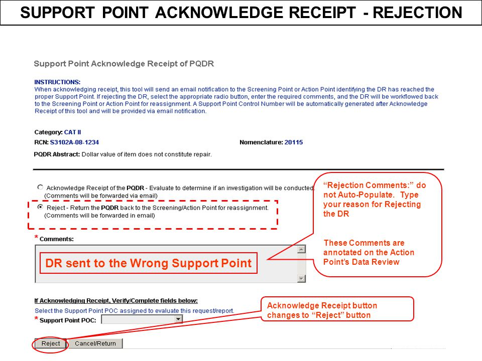 SUPPORT POINT ACKNOWLEDGE RECEIPT - REJECTION