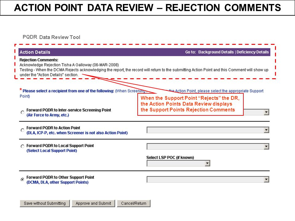 ACTION POINT DATA REVIEW – REJECTION COMMENTS