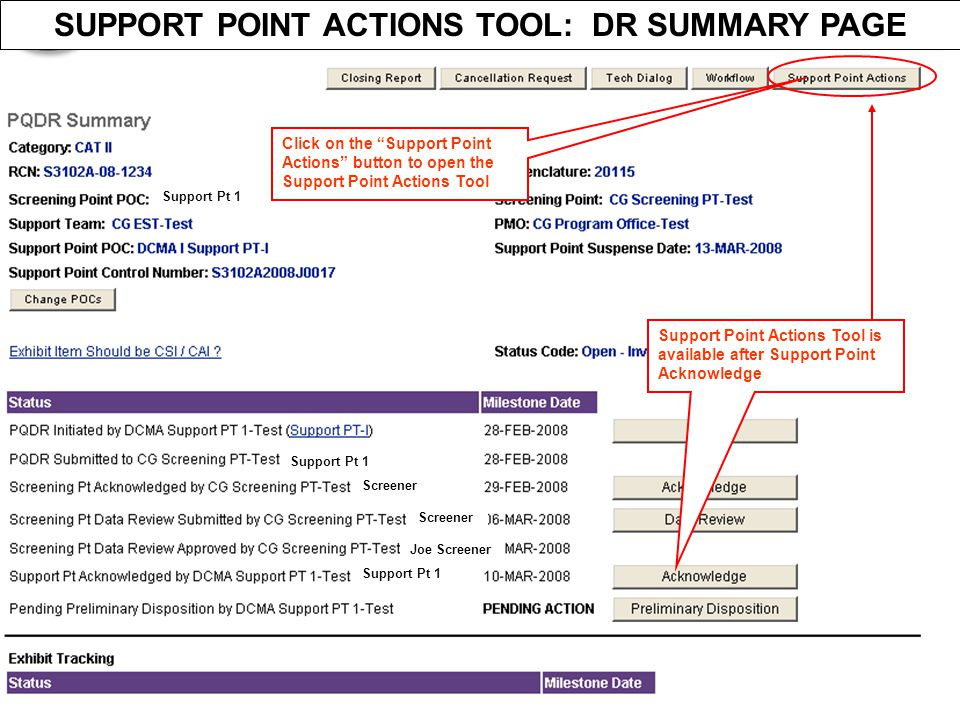 SUPPORT POINT ACTIONS TOOL: DR SUMMARY PAGE