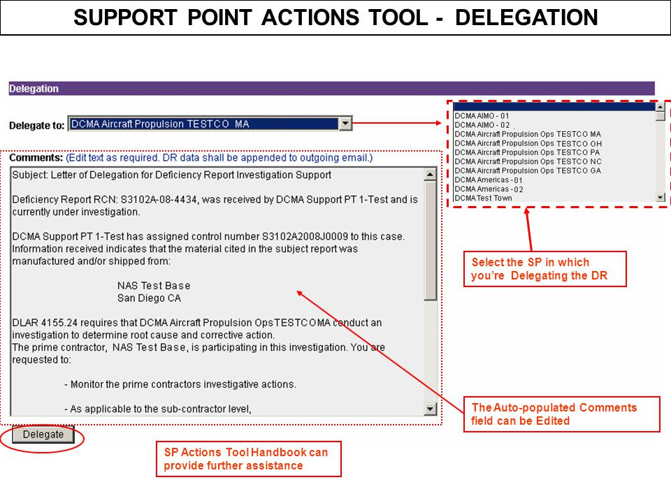SUPPORT POINT ACTIONS TOOL - DELEGATION
