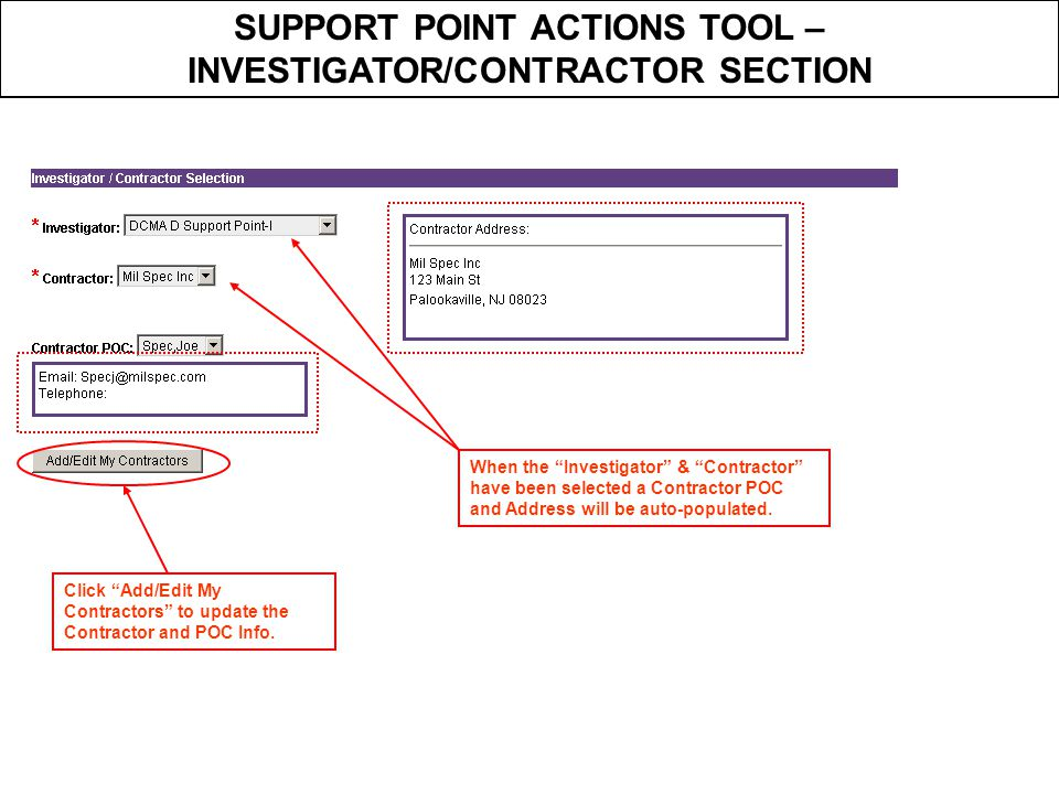 SUPPORT POINT ACTIONS TOOL – INVESTIGATOR/CONTRACTOR SECTION