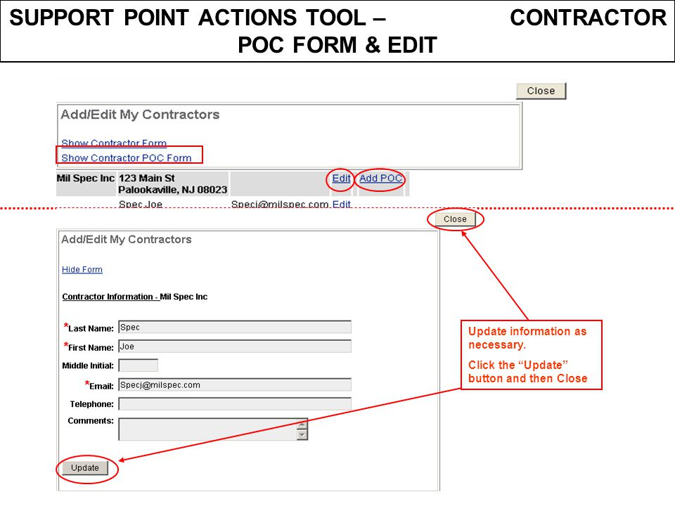 SUPPORT POINT ACTIONS TOOL – CONTRACTOR POC FORM & EDIT