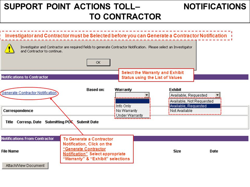 SUPPORT POINT ACTIONS TOLL– NOTIFICATIONS TO CONTRACTOR