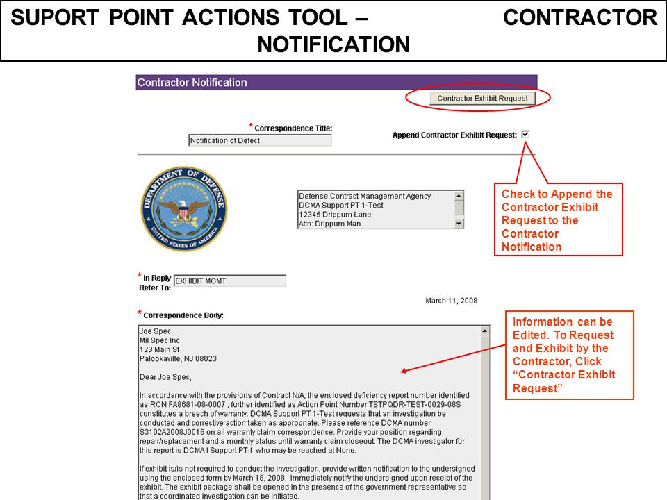 SUPORT POINT ACTIONS TOOL – CONTRACTOR NOTIFICATION