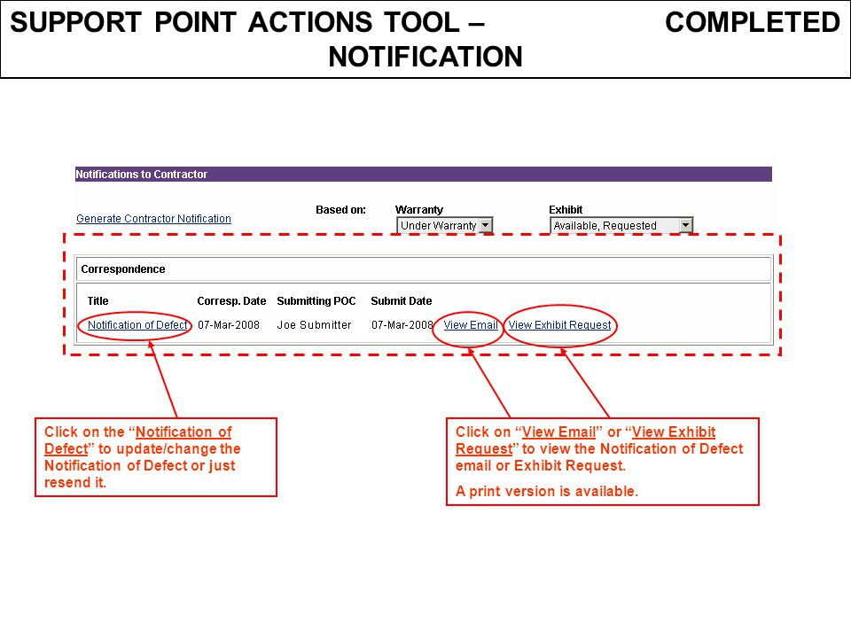 SUPPORT POINT ACTIONS TOOL – COMPLETED NOTIFICATION