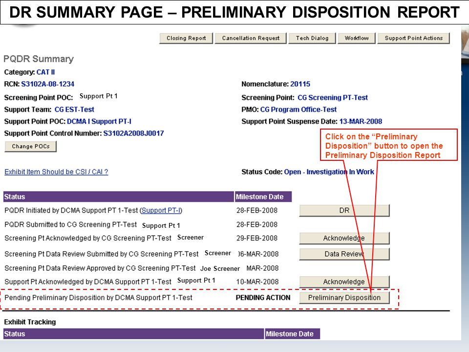 DR SUMMARY PAGE – PRELIMINARY DISPOSITION REPORT