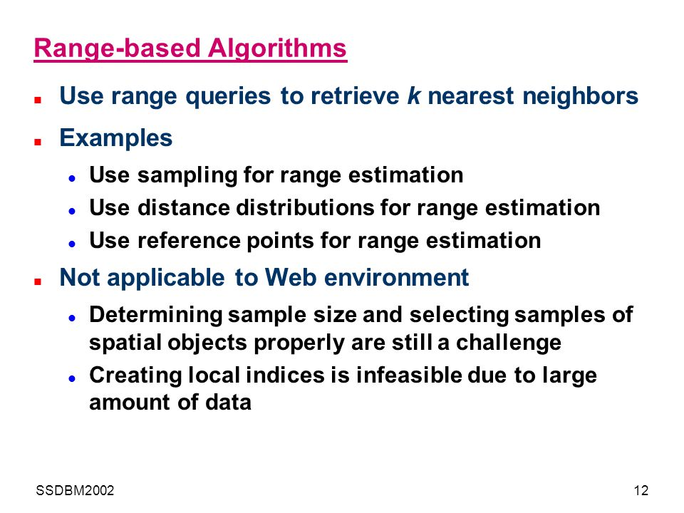 Range-based Algorithms