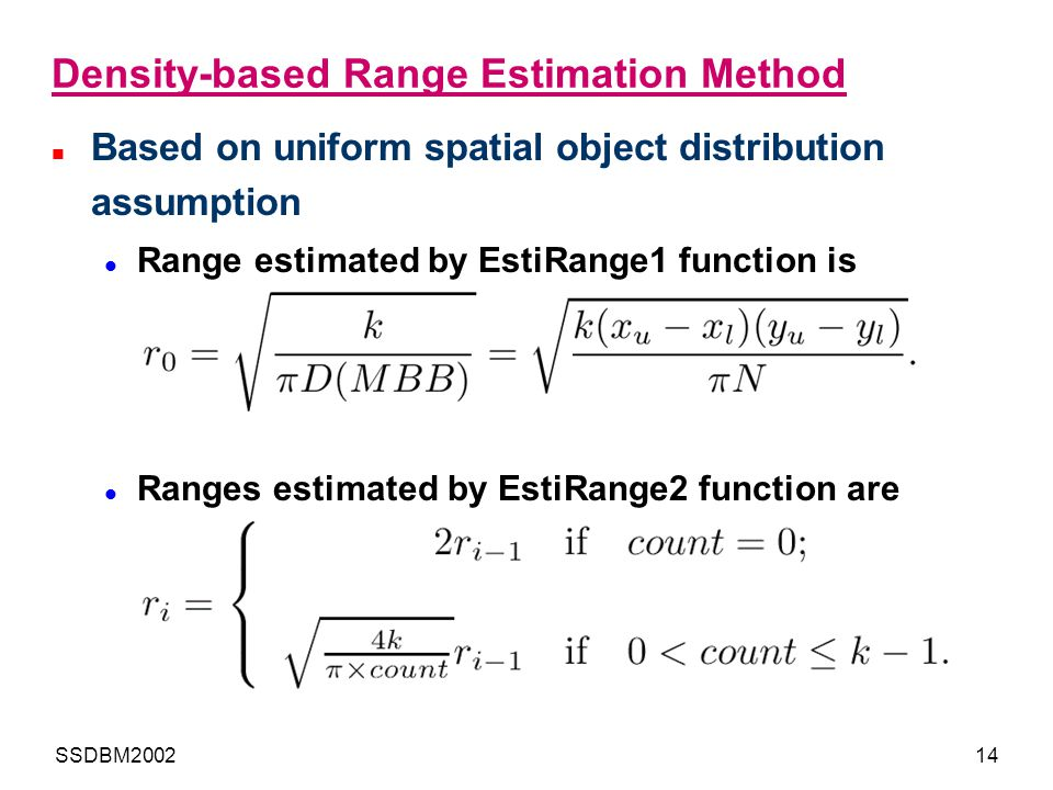 Density-based Range Estimation Method