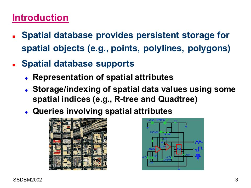Introduction Spatial database provides persistent storage for spatial objects (e.g., points, polylines, polygons)