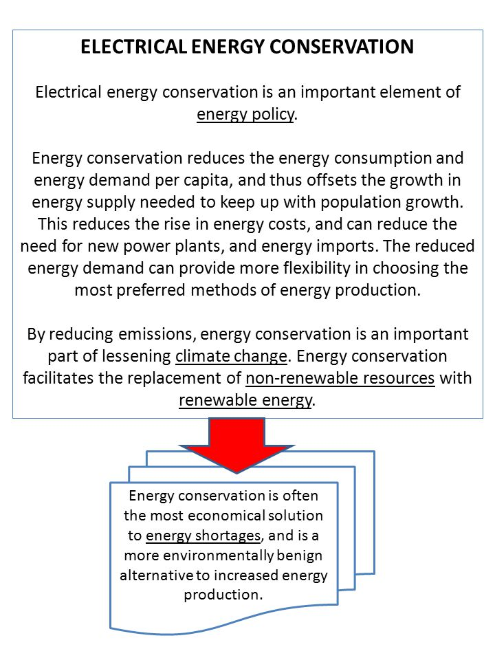 ELECTRICAL ENERGY CONSERVATION