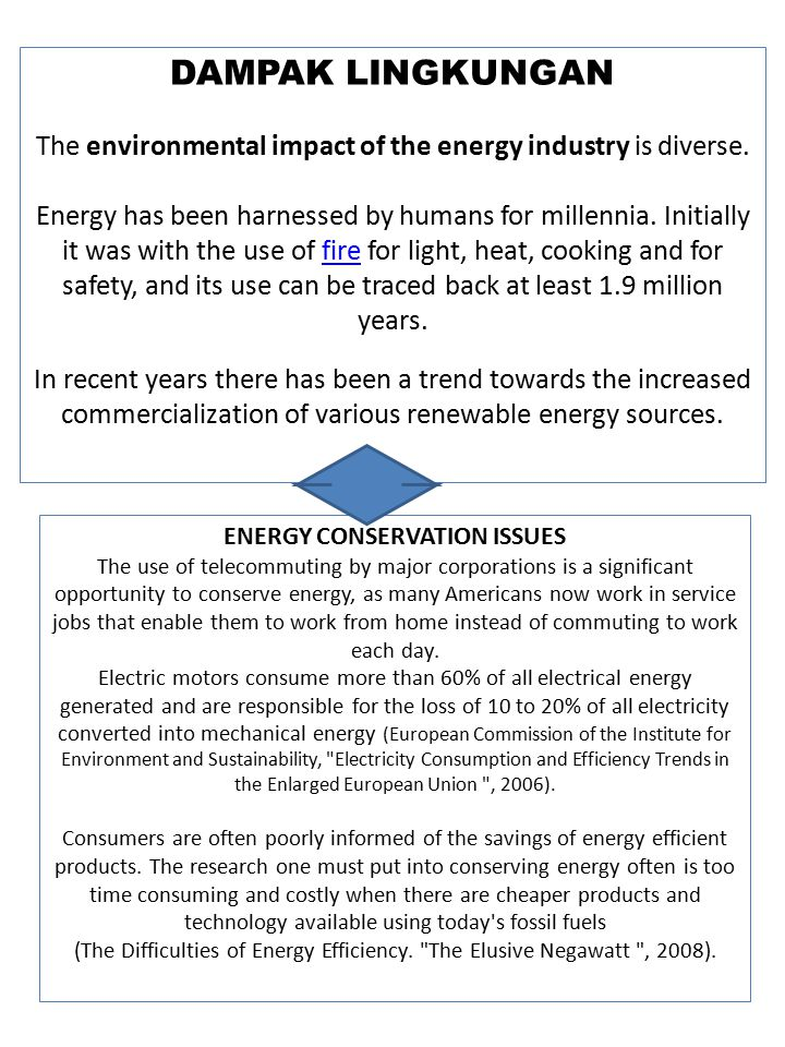 ENERGY CONSERVATION ISSUES