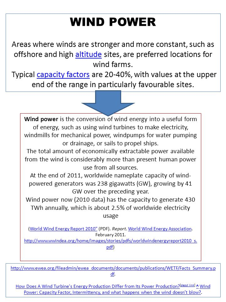 WIND POWER Areas where winds are stronger and more constant, such as offshore and high altitude sites, are preferred locations for wind farms.