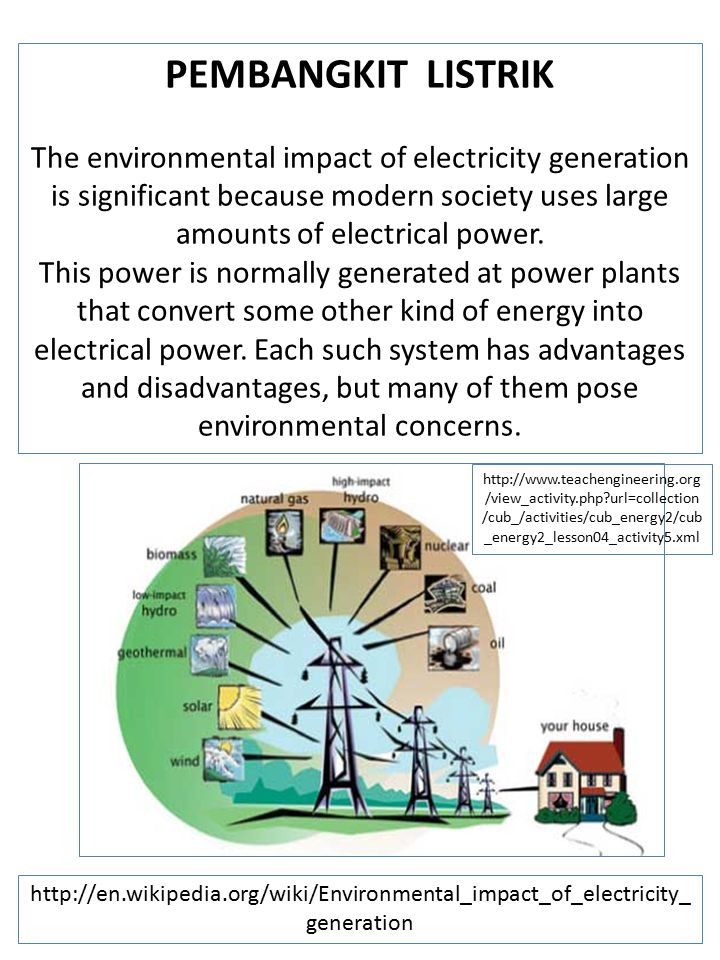 PEMBANGKIT LISTRIK The environmental impact of electricity generation is significant because modern society uses large amounts of electrical power.
