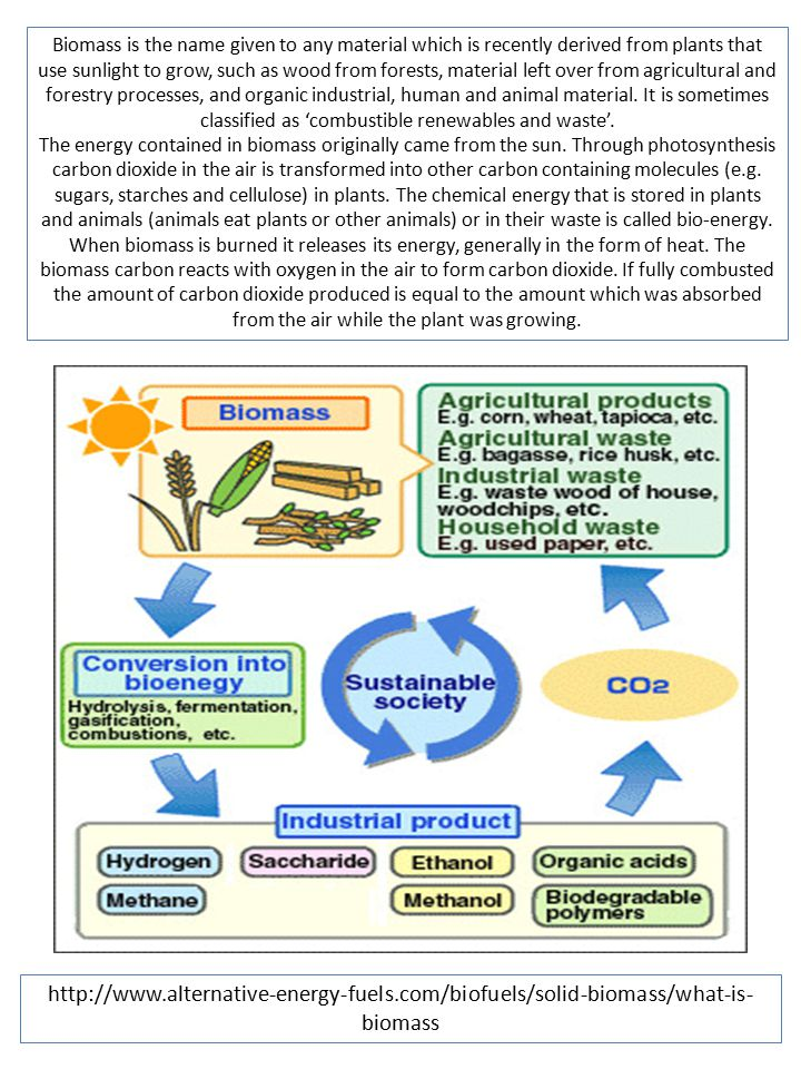 Biomass is the name given to any material which is recently derived from plants that use sunlight to grow, such as wood from forests, material left over from agricultural and forestry processes, and organic industrial, human and animal material. It is sometimes classified as 'combustible renewables and waste'.