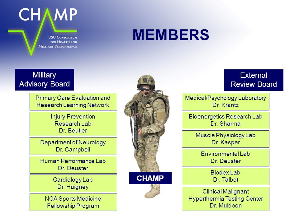 MEMBERS Military Advisory Board External Review Board CHAMP
