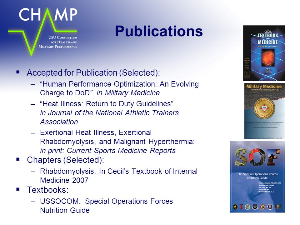 Publications Accepted for Publication (Selected): Chapters (Selected):