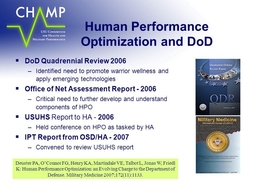 Human Performance Optimization and DoD