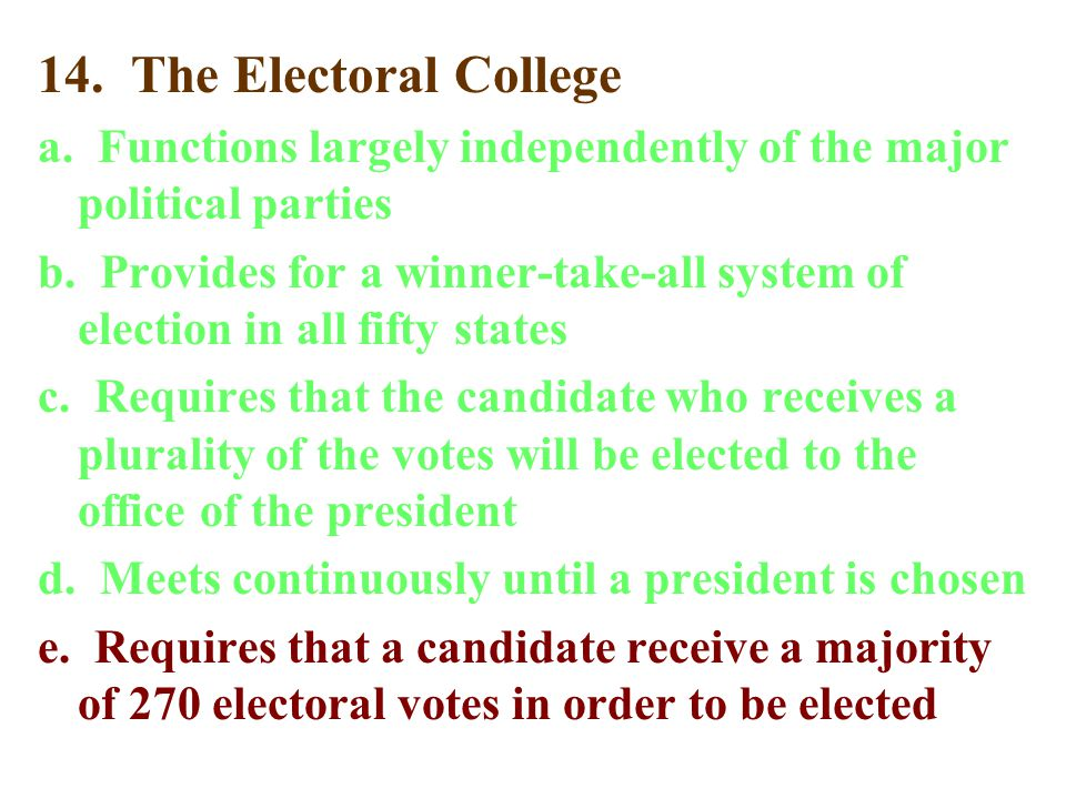 14. The Electoral College a. Functions largely independently of the major political parties.