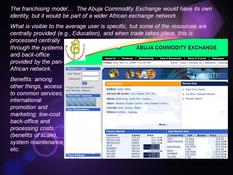 The franchising model… The Abuja Commodity Exchange would have its own identity, but it would be part of a wider African exchange network.