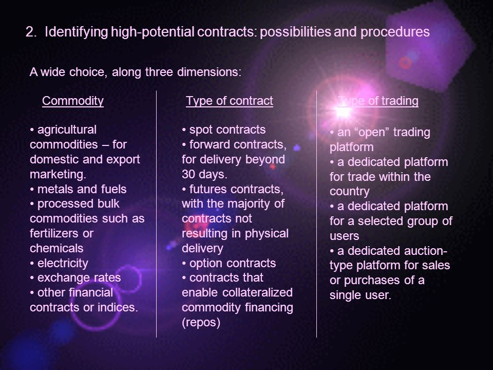 2. Identifying high-potential contracts: possibilities and procedures