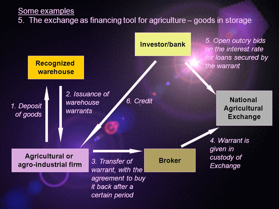 5. The exchange as financing tool for agriculture – goods in storage