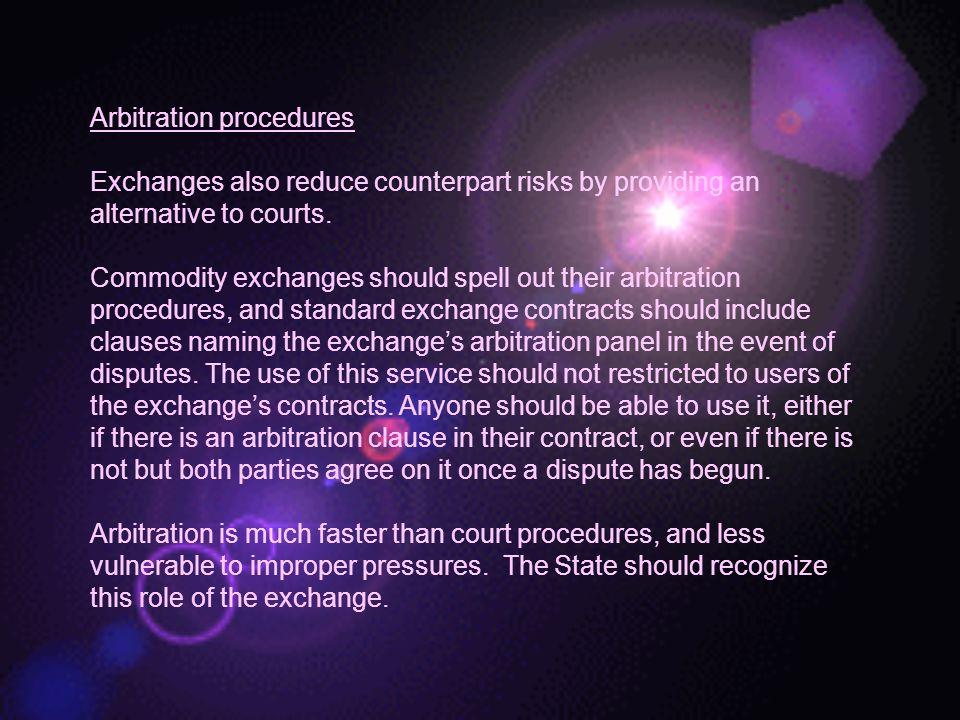 Arbitration procedures