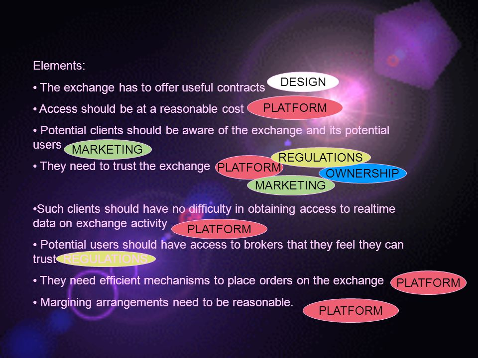 Elements: The exchange has to offer useful contracts. Access should be at a reasonable cost.