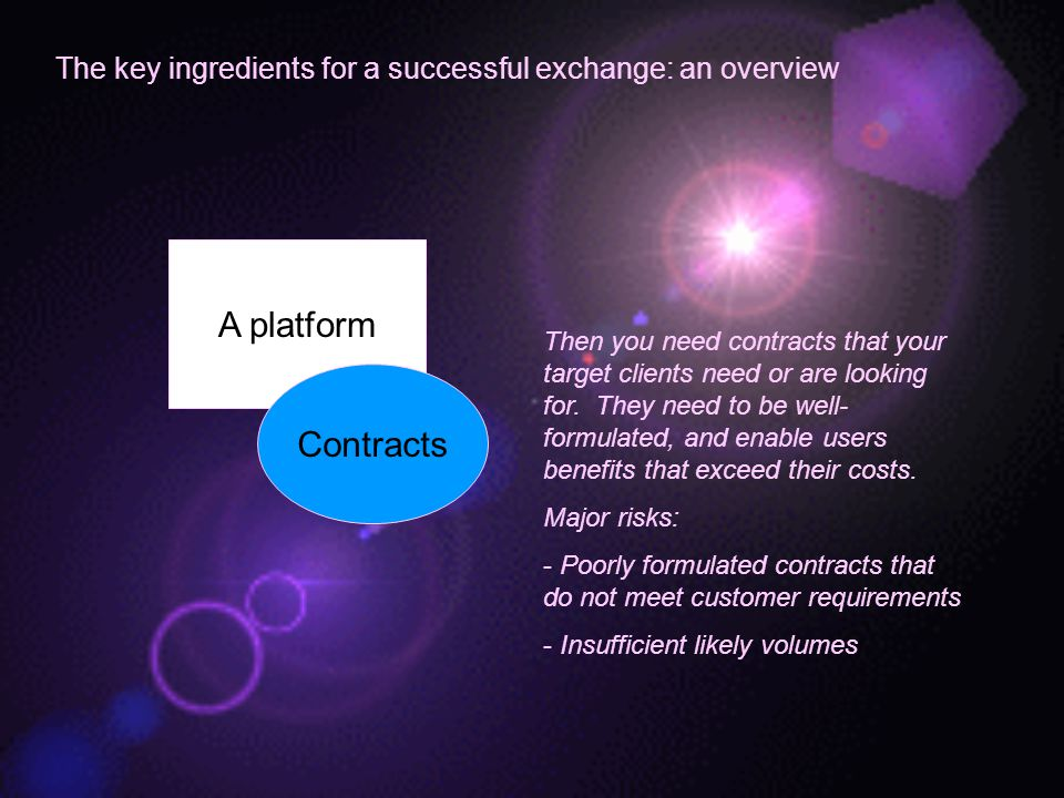 The key ingredients for a successful exchange: an overview