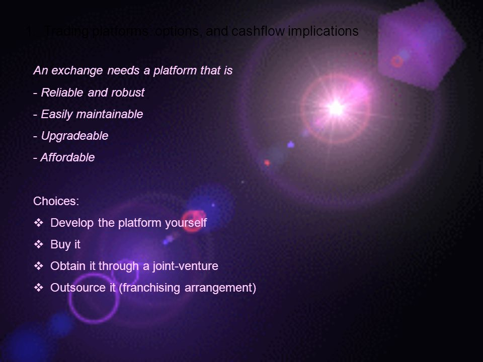 1. Trading platforms: options, and cashflow implications
