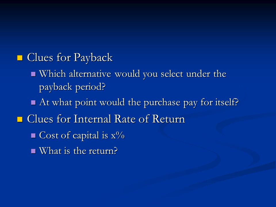 Clues for Internal Rate of Return