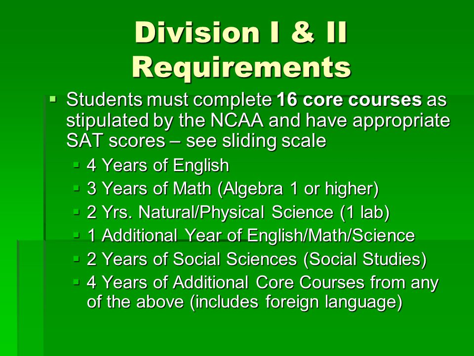 Division I & II Requirements
