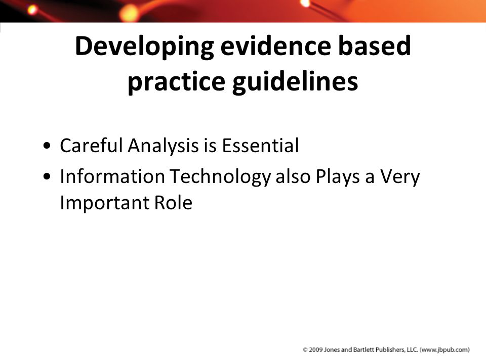 Developing evidence based practice guidelines