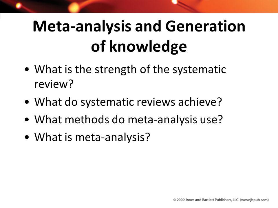 Meta-analysis and Generation of knowledge
