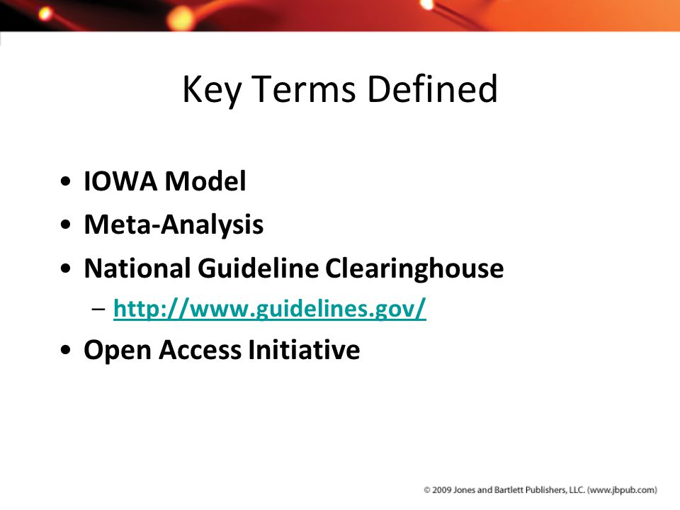 Key Terms Defined IOWA Model Meta-Analysis