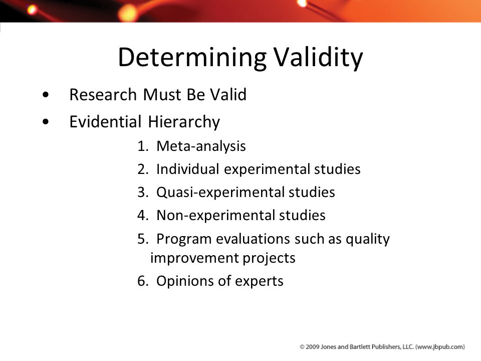 Determining Validity Research Must Be Valid Evidential Hierarchy