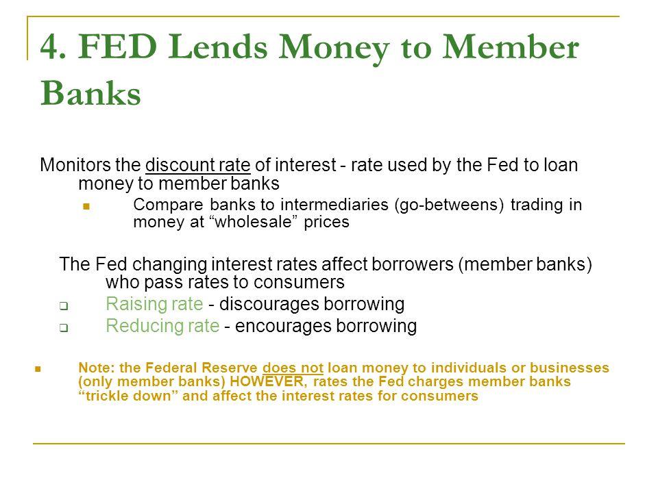 4. FED Lends Money to Member Banks