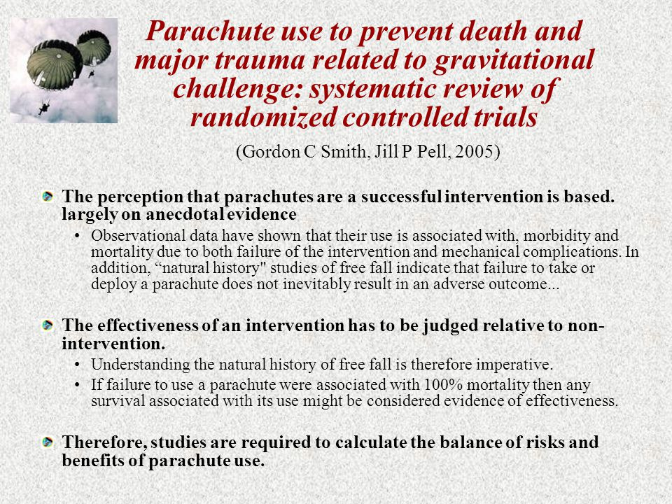 Parachute use to prevent death and major trauma related to gravitational challenge: systematic review of randomized controlled trials (Gordon C Smith, Jill P Pell, 2005)